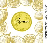 lemon vector in vintage... | Shutterstock .eps vector #609240059