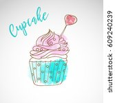 painted cake  dessert sketch... | Shutterstock .eps vector #609240239