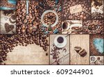 collage of coffee. a lot of... | Shutterstock . vector #609244901