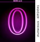 glowing neon number on black... | Shutterstock . vector #60924541