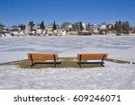Frozen Gillies lake in Timmins, Ontario