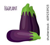 purple eggplant in cartoon flat ... | Shutterstock .eps vector #609253925