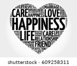 happiness word cloud collage ... | Shutterstock . vector #609258311