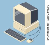 retro personal computer. old pc ... | Shutterstock .eps vector #609259697