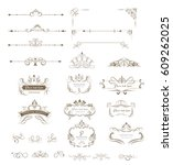 ornate frames and collection of ... | Shutterstock .eps vector #609262025