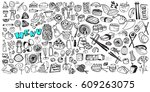 hand drawn food elements. set... | Shutterstock .eps vector #609263075