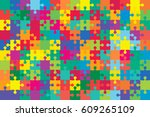 150 multi color puzzles pieces... | Shutterstock .eps vector #609265109