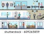 subway interior set with train  ... | Shutterstock . vector #609265859