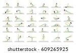 yoga workout for women set on...   Shutterstock . vector #609265925