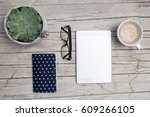 modern office desk with mock up ... | Shutterstock . vector #609266105