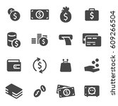 vector black money icons set | Shutterstock .eps vector #609266504
