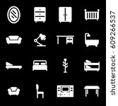vector white furniture icons set | Shutterstock .eps vector #609266537