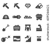 vector black mining icons set | Shutterstock .eps vector #609266621