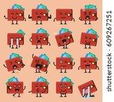 wallet character emoji set.... | Shutterstock .eps vector #609267251