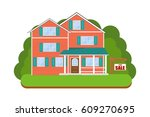detailed colorful flat house.... | Shutterstock .eps vector #609270695