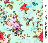 roses  poppy  wild flowers ... | Shutterstock .eps vector #609273275