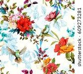 seamless floral pattern. poppy  ... | Shutterstock .eps vector #609273281