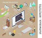 set of online education... | Shutterstock .eps vector #609273701
