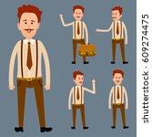 redhead male cartoon character... | Shutterstock .eps vector #609274475