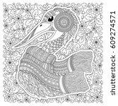 stork   fantastic flowers ... | Shutterstock .eps vector #609274571
