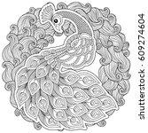 peacock. adult antistress... | Shutterstock .eps vector #609274604