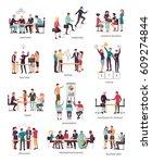 vector illustration of teamwork ... | Shutterstock .eps vector #609274844