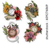 vector pocket watch and flower... | Shutterstock .eps vector #609276869