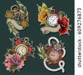 vector pocket watch and flower... | Shutterstock .eps vector #609276875