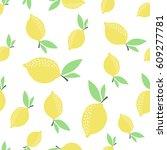 lemon pattern. seamless... | Shutterstock .eps vector #609277781