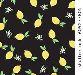 lemon pattern. seamless... | Shutterstock .eps vector #609277805
