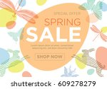 vector banner with easter and... | Shutterstock .eps vector #609278279