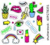 set of pop art stickers  badges ... | Shutterstock .eps vector #609278351