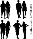 people silhouettes   couples  | Shutterstock .eps vector #609280889