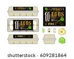 set of template labels for egg...   Shutterstock .eps vector #609281864