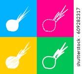 onion sign. salad ingredient.... | Shutterstock .eps vector #609282317