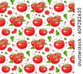 juicy tomatoes seamless pattern.... | Shutterstock .eps vector #609282635