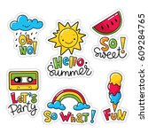 vector set of cool stickers ... | Shutterstock .eps vector #609284765