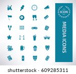 media icon set clean vector | Shutterstock .eps vector #609285311