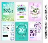 set of mobile spring sale... | Shutterstock .eps vector #609286991