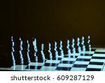composition with chessmen on... | Shutterstock . vector #609287129