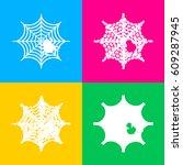 spider on web illustration four ... | Shutterstock .eps vector #609287945