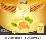 lemon honey flavor throat drops ... | Shutterstock .eps vector #609289637