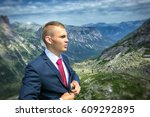 portrait of a young man in a... | Shutterstock . vector #609292895