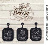 bakery menu design and bakery... | Shutterstock .eps vector #609294845
