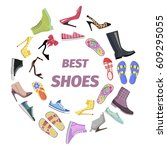 set of best shoes for man and... | Shutterstock .eps vector #609295055