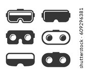 vr headset icons set on white... | Shutterstock .eps vector #609296381