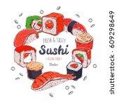 asian food poster. vector hand... | Shutterstock .eps vector #609298649