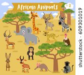 African Animals Cartoon With...