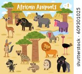 african animals cartoon with... | Shutterstock .eps vector #609301025