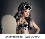 woman with a snowboard and a... | Shutterstock . vector #60930490